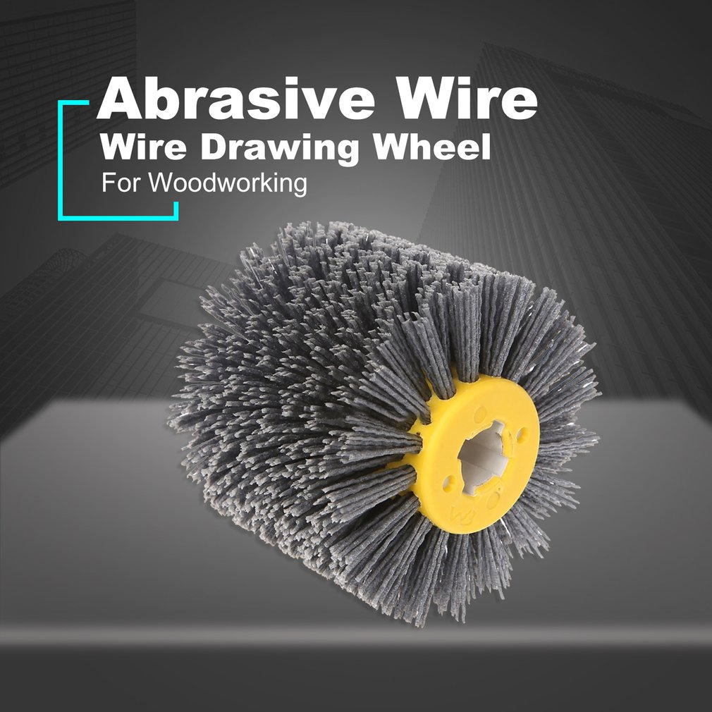 Abrasive Wire Drawing Round Brush Head Polishing Grinding Tool Buffer Wheel For Furniture Wood Sculpture Rotary Drills