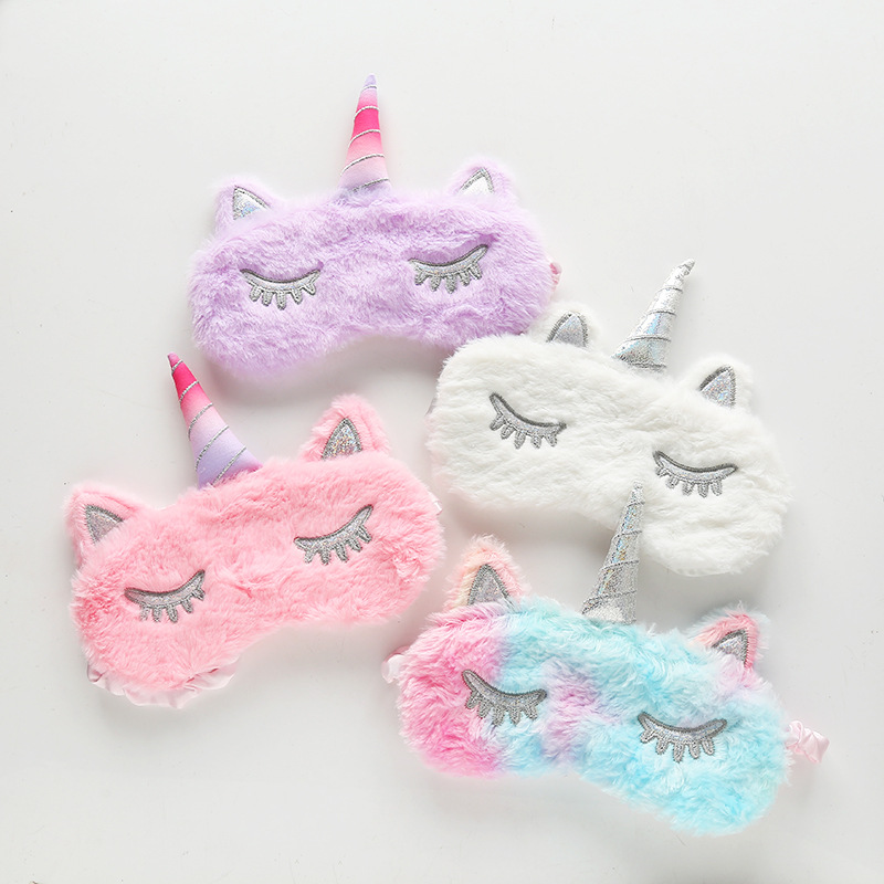 1pc New Unicorn Eye Mask Cartoon Sleeping Mask Plush Eye Shade Cover Eyeshade Suitable For Travel Home Party Gifts