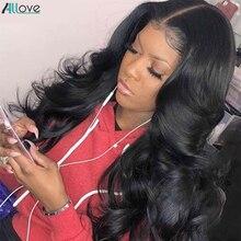 Wig Human-Hair-Wigs Lace-Wig-Bone 4x4 Closure Straight Brazilian 250 Density 13X4 Allove