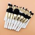 Set de brochas de maquillaje BEILI, profesional dorada, base en polvo, XGF Natural, mezcla de Ojos de pelo de cabra, juego de cepillo cosmético profesional con rubor dorado