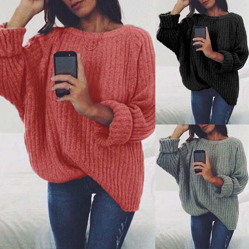 Loose large size sweater women solid color round neck long sleeve pullover