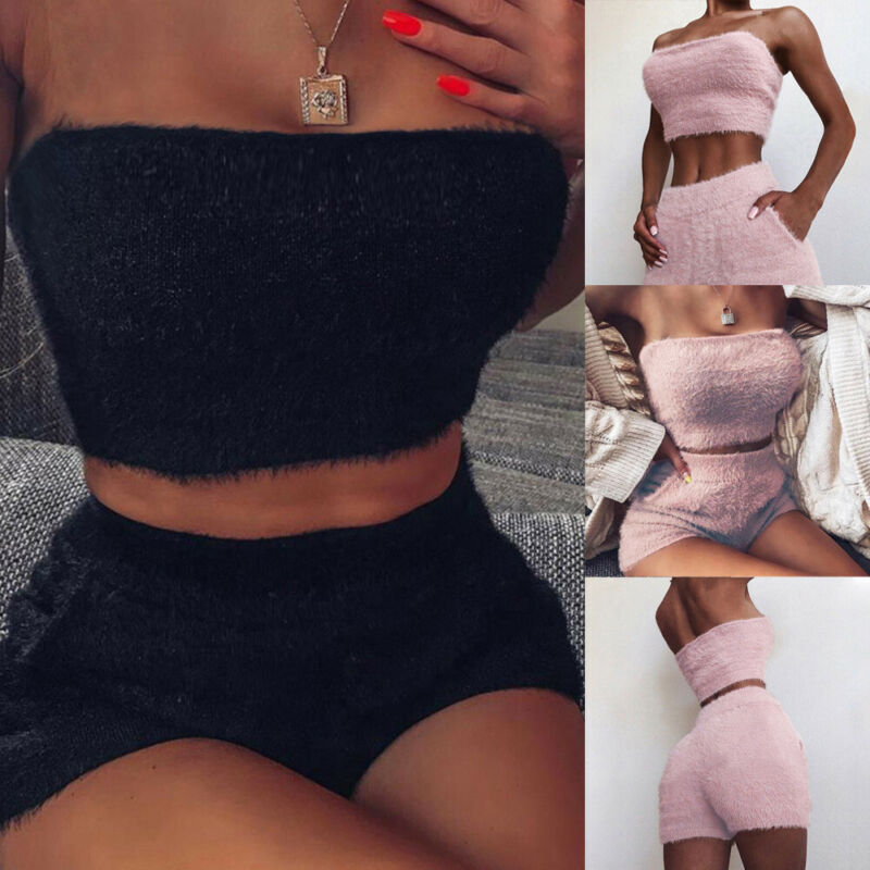 Women Sping Fashion Solid Sexy Clubwear 2 Piece Outfits Sleeveless Fur Crop Top Shorts Set Casual Jumpsuit Costume