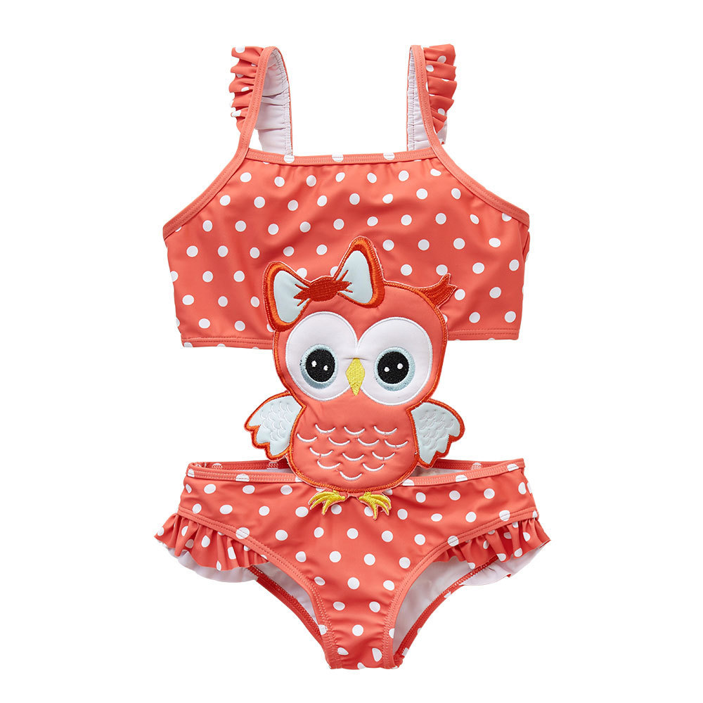 Micro GIRL'S Swimsuit 2019 New Style Owl Sun-resistant Quick-Dry Baby GIRL'S One-piece Swimsuit For Children Swimwear