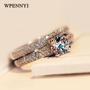 Ring-Set Crystal Silver-Color Shiny Wholesale Woman Zirconia Luxury 2pcs 5mm Gifts Top-Quality