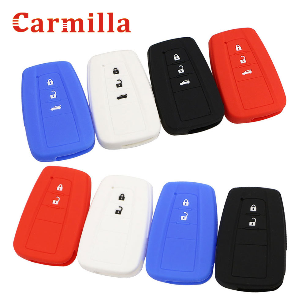 Carmilla Silicone Car Key Fob Cover Case For Toyota CHR C-HR Camry Prius Prado 2016 - 2020 2 3 Buttons Remote Keyless