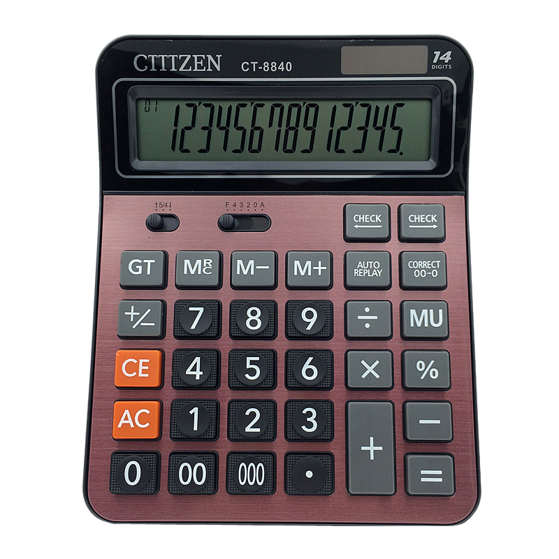 Ct-8840 Solar Calculator Student Teacher Black Red Computer Large Desktop Red Calculator Business Accounting Special Calculation