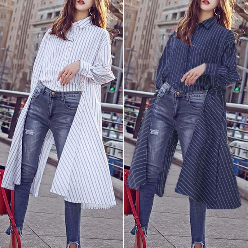 2020 Spring Summer Shirts ZANZEA Elegant Long Tops Stylish High Low Turn Down Collar Striped Blouses Buttons Down Tunic Blusas