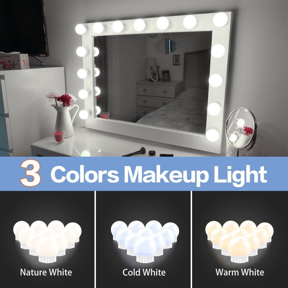 Espejo de maquillaje de Hollywood Led Luz de 3 colores tocador regulable continuo Baño Led lámpara de pared USB maquillaje iluminación de tocador