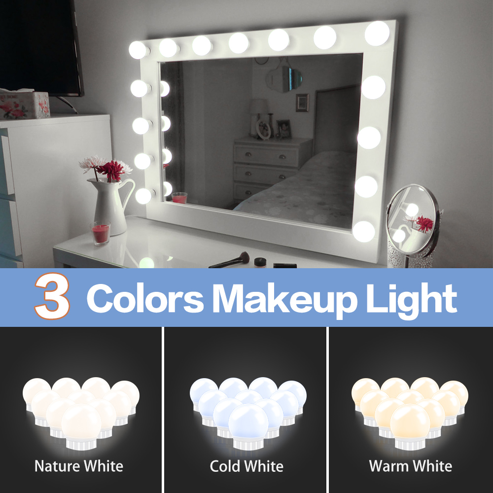 Hollywood Led Makeup Mirror Light 3-color Stepless Dimmable Dressing Table Bathroom Led Wall Lamp USB Make Up Vanity Lighting