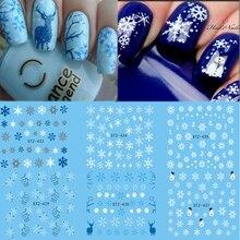 Feuille dautocollants pour ongles à leau, tatouages temporaires, Design de noël, Elk/fleurs de neige, transfert à motif de hibou, beauté, Nail Art, TRSTZ429 439