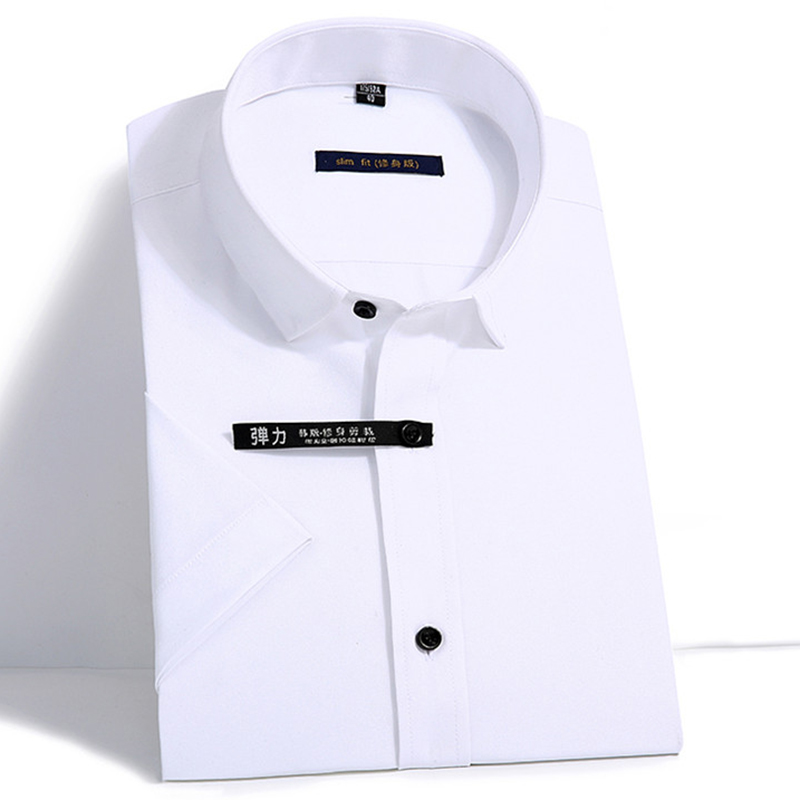 Bamboo fiber Short sleeve Men's shirt slim fit Elastic Summer Man'shirt Comfortable formal mens clothes White No chest pocket