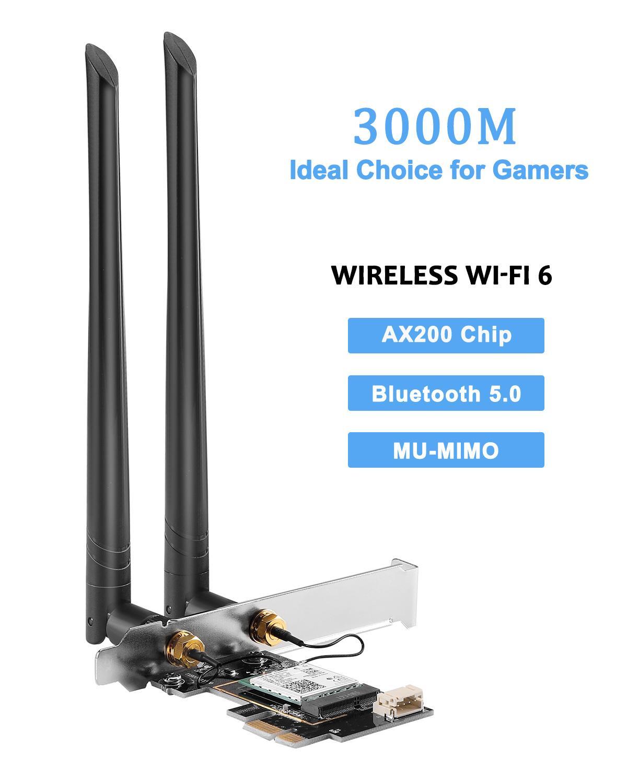 Gigabit PCIE Wireless Network Card Wi-Fi 6 Intel AX200 MU-MIMO Adapter Bluetooth 5.0 Adapter PCI Express WiFi for Windows 10