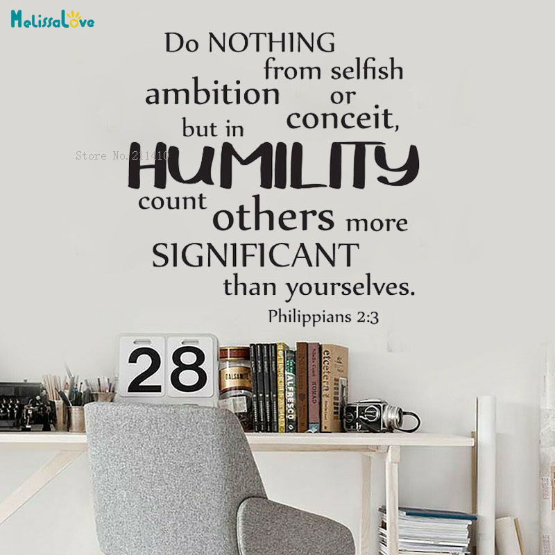 Vinyl Wall Art Sticker Do Nothing From Selfish Ambition Or Conceit But In Humility Count Others More Significant Decor YT2352 image