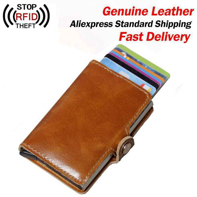 Echt Leer Mannen Aluminium Wallet Back Pocket Id Kaarthouder Rfid Blocking Mini Magic Portemonnee Automatische Credit Card Portemonnee