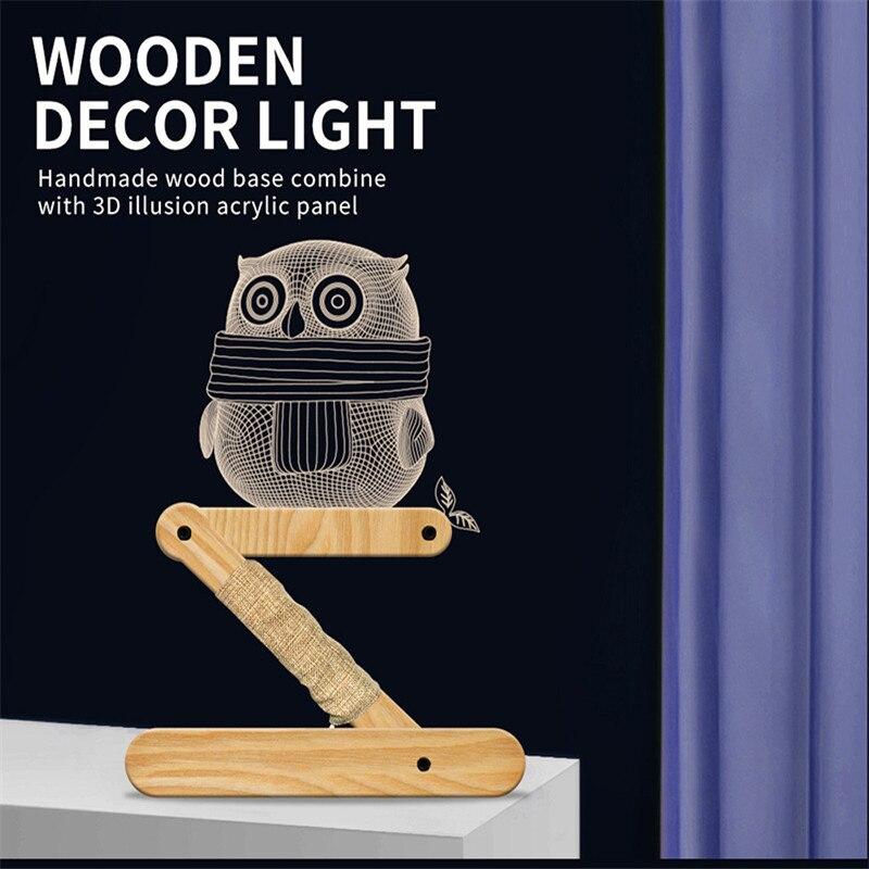Recoowin 3D светодиодный Ночной светильник, деревянная лампа рядом с настольной лампой из цельного дерева, Гибкий Настольный светильник для