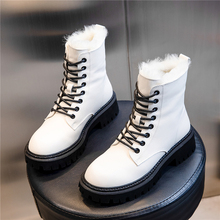 Winter Boots Shoes Lace-Up Female Nature Genuine-Leather Fashion Women Ankle Wool Warm