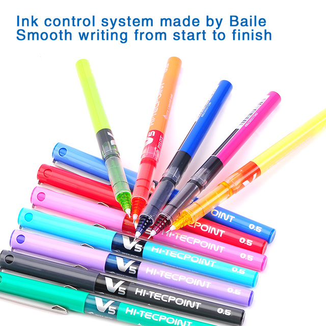 japan stationery PILOT BX-V5 0.5mm Straight pen Large capacity color ink ball pen School supplies 2