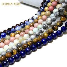 Perles rondes en pierre naturelle oeil de tigre, cristal, Labradorite, Amazonite, pour la fabrication de bijoux, 4 6 8 10 12MM