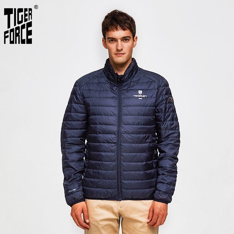 TIGER FORCE Men Jackets Hidden Hood Outerwear Fashion Padded Cotton Coat Ultralight Casual Puffy Coats Man Parka mont erkek