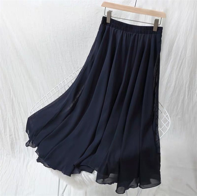 5XL 6XL 7XL Spring Autumn Fashion Women High Waist Pleated Chiffon Skirt Plus Size Lady Black Pink Blue Yellow Long Maxi Skirt