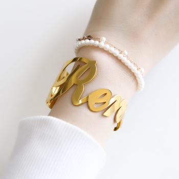 Customized Name Bracelet Bangle Jewelry Set Gold Silver Color Stainless Steel Bracelets for Women Men Personalized Charm Bangles fashion classic cross bracelet bangles for men black gold color stainless steel male band bracelets jewellery gift