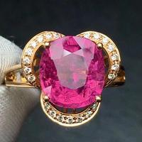 Rubillite Ring Fine Jewelry Pure 18 K Gold Natural Rubi Tourmaline 3.4ct Gemstone Diamond Gift Female Rings for Women Fine Ring