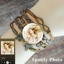 Bracelet Spotify-Album Photo-Glass Woven Custom Personalized Music Poster Cabochon Multi-Layer