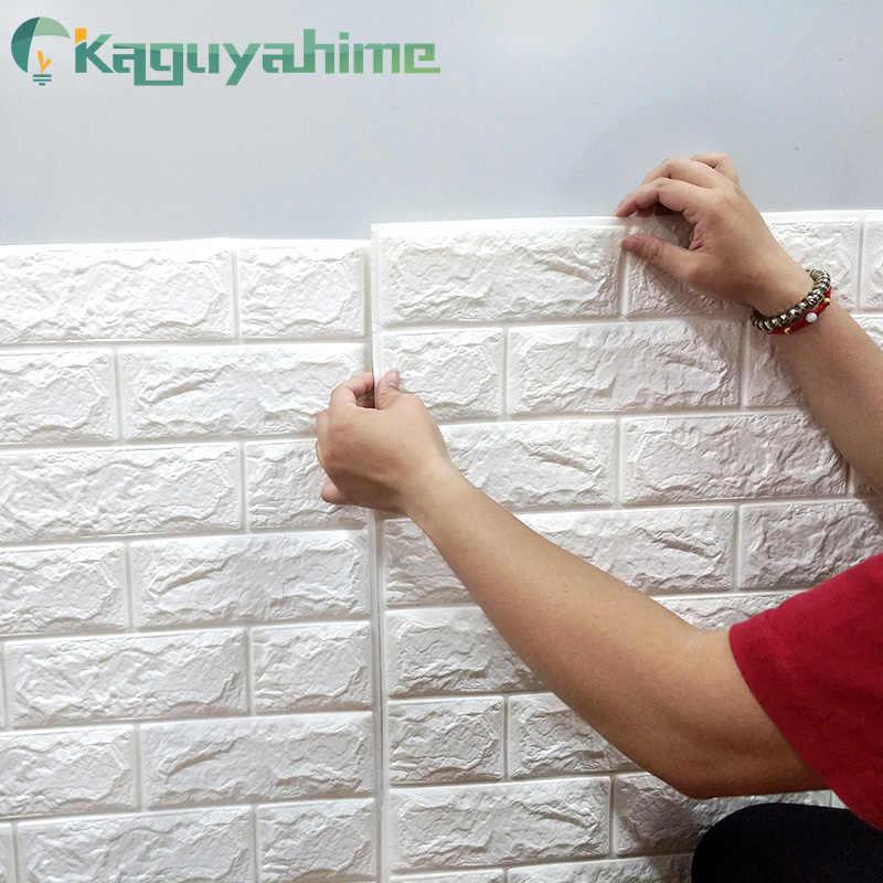 Kaguyahime 3D טפט DIY השיש מדבקה עמיד למים מדבקות ניירות קיר בית תפאורה חדר ילדים 3D עצמי דבק טפט בריק