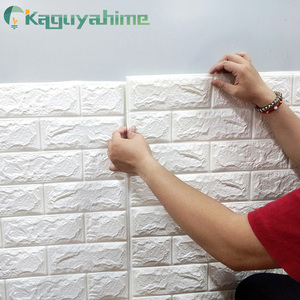 Kaguyahime 3D Wallpaper DIY Marble Sticker Waterproof Stickers Wall Papers Home decor Kids Room 3D Self-Adhesive Wallpaper Brick(China)