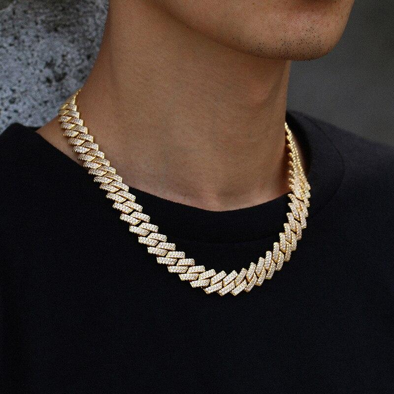 Nueva moda 14mm Eslabón cubano cadenas Rosa color dorado y plateado para las mujeres hip hop para hombres joyería helado 2 fila collar de cristal regalos