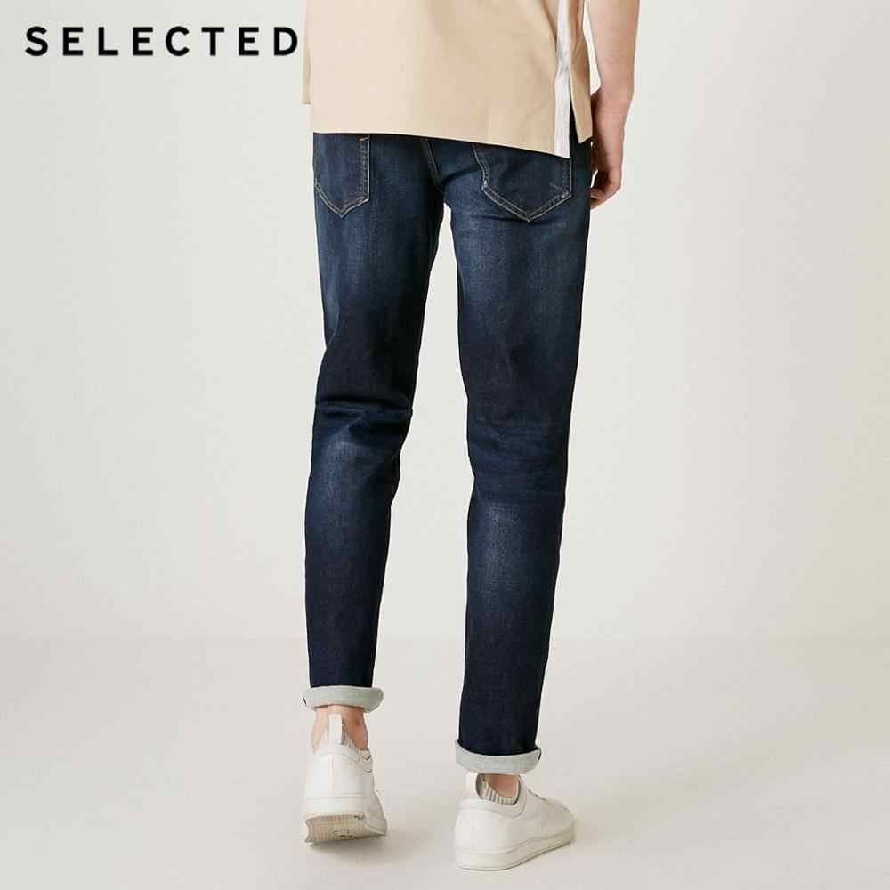 SELECTED Men's Fit Jeans Autumn & Winter Cotton Clothes Slight Stretch Fading Straight Denim Pants C | 418432529
