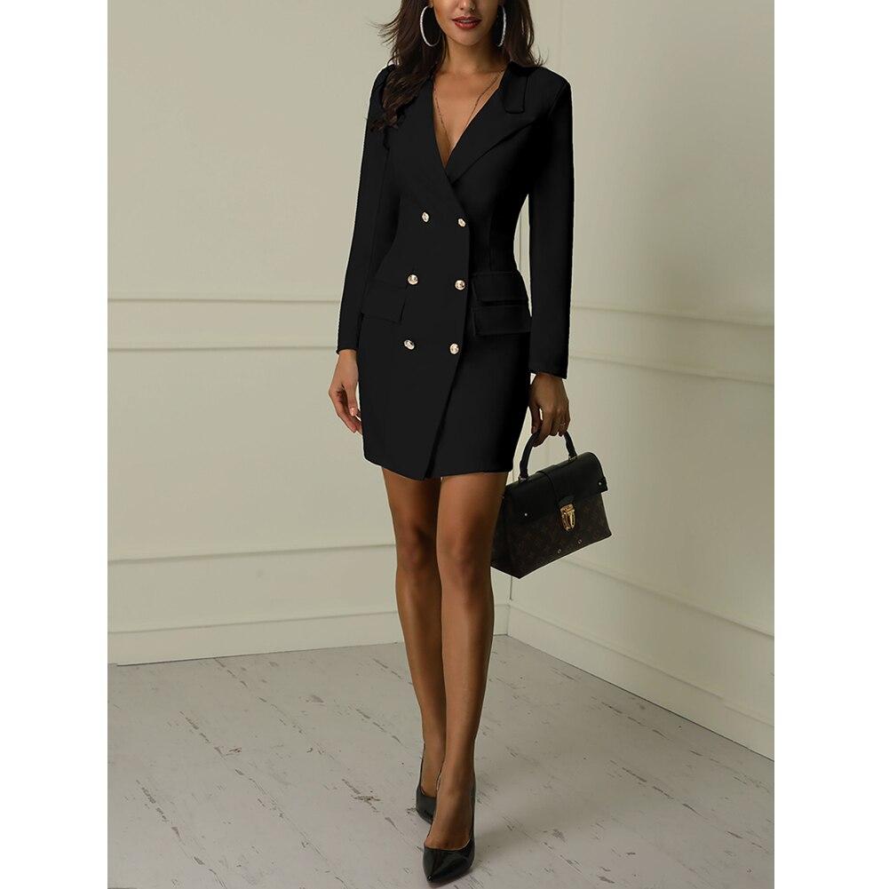 Autumn Winter Suit Blazer Women 19 New Casual Double Breasted Pocket Women Long Jackets Elegant Long Sleeve Blazer Outerwear 4