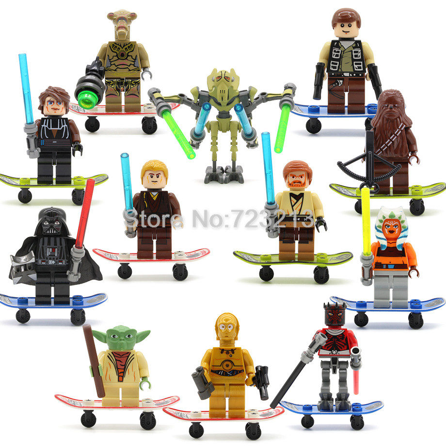 Single Sale Star Wars 8cm 3.5inch Darth Vader Figure Yoda C3PO bacca Luke Anakin Building Blocks Set Model Kits Toys