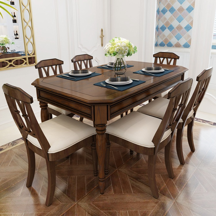 Karoisjtn03 All Solid Wood Simple Dining Table And Chair Combination Retro Small Apartment Rectangular 6 Person Dining Table Dining Tables Aliexpress