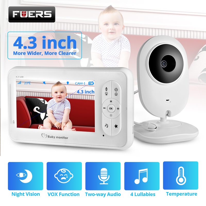 4.3 inch Video Baby Monitor Wireless with Camera Two-way Talkback Nanny Camera Babysitter Night Vision Temperature Detection