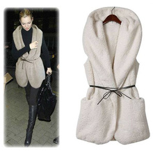 Women Autumn&Winter Solid Color Casual All-match Warm Lamb Jacket Sleeveless Bow-knot Decoration Plush Vest Jacket solid color sleeveless bow knot maxi dress