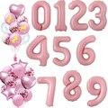 40-дюймовые фольгированные розовые воздушные шарики в виде цифр 0 1 2 3 4 5 6 7 8 9 воздушные надувные шарики 18 с днем рождения, вечеринки, свадьбы, у...
