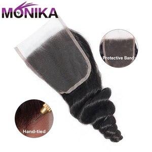 Image 2 - Monika 20 インチインドの髪閉鎖ルーズウェーブ閉鎖 cheveux 人毛織り閉鎖 4 × 4 3 部分 swicc レース閉鎖非レミー
