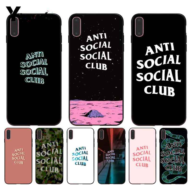 Yinuoda For iphone 7 XSMAX Case ASSC Anti Social Club Logo Brand Better Phone Case for iPhone X  8 7 6 6S Plus X 5 5S SE XR XS