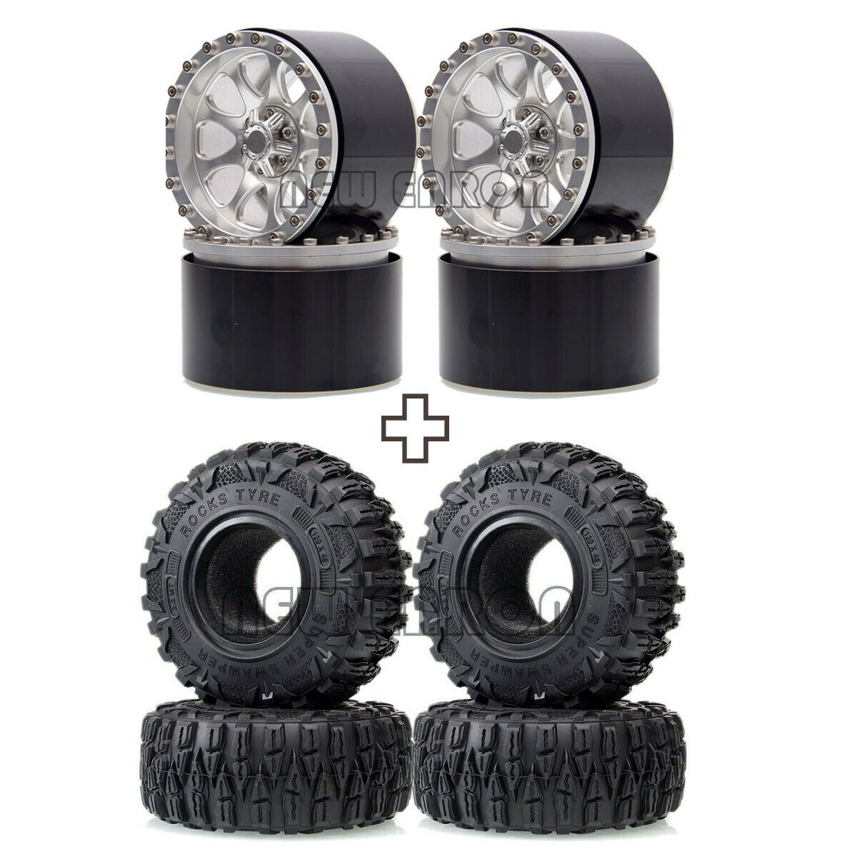 NEW ENRON 4P Auminum 2.2 Inch Beadlock Wheels Rim Hub 120mm Super Swamper Rocks Tires Tyre For 1/10 RC CAR  RR10 Wraith 90018