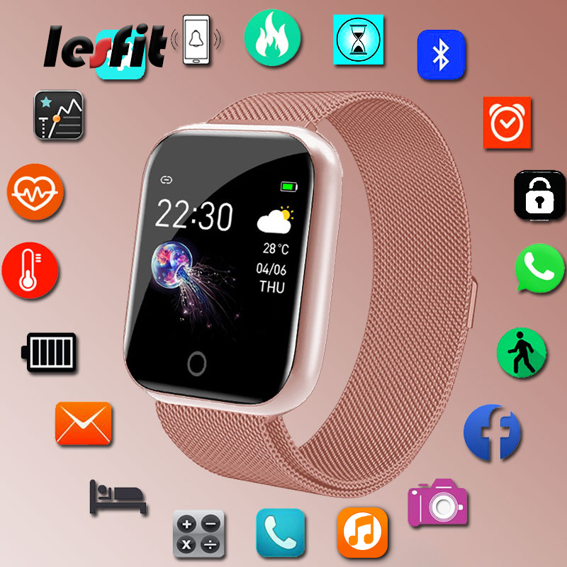 Lesfit Stainless Steel Smart Women Men Watch For Android IOS Electronics Smart Clock Watch Fitness HR/BP Rate Tracker Wristbands