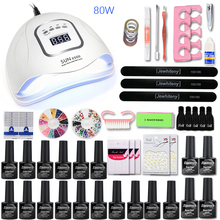 Nail Set 80/36W LED Dryer Manicure 16/10/6pcs Gel Polish with Base and Top Art Tools kit