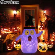 OurWarm 5x4ft Rotating Light Halloween Inflatable Blow Up Ghost Pumpkin Outdoor Holiday Yard Decor
