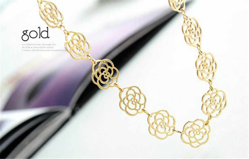 Piękne włosy akcesoria metalowe słodka pani hollow rose kwiatowa do włosów pasek złoty elastyczna opaska do włosów akcesoria do włosów dla kobiet