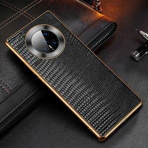 Image 2 - غلاف خلفي من جلد البقر الطبيعي الحقيقي لهاتف Huawei Mate 40 Pro ، تمساح ، نمط سحلية ، أعمال