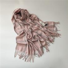 2019 sweet women scarves imitation cashmere growing warm tassel scarf of neutral plain clothing accessories