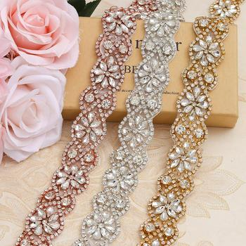 Wholesale 3CM*5Yards Rhinestones Trim For Wedding Dresses Belt Rose Gold Rhinetones On DIY Bridal Belt YS818