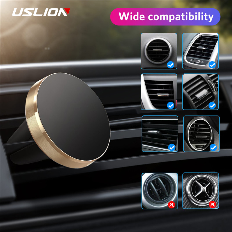 USLION Universal Magnetic Car Phone Holder Mini Air Vent Clip Mount Magnet Mobile Stand For IPhone 11 Xiaomi Smartphones In Car