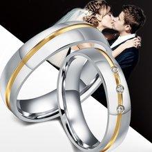 Anéis de aço inoxidável para mulheres e homens, anel para casal correspondente, conjunto de faixas de casamento, zircônia cúbica cz