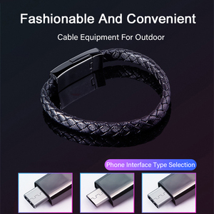 Image 5 - Leder Armband USB Handy ladegerät Kabel Micro USB Typ C Daten Sync Kurze Kable Schnelle Lade Für Xiaomi Samsung S10 ladung Draht